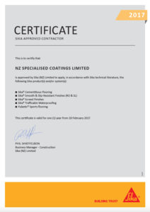 SIKA Approved Applicators Certificate 2017